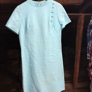 Vintage Early 60s Turquoise Shift Dress